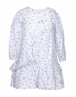 Sarah Louise Baby / Toddler Girls Blue Floral Dress with Lace Ruffle and Bows