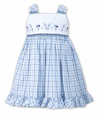 Sarah Louise Baby / Toddler Girls Blue Plaid Sun Dress - Embroidered Bodice