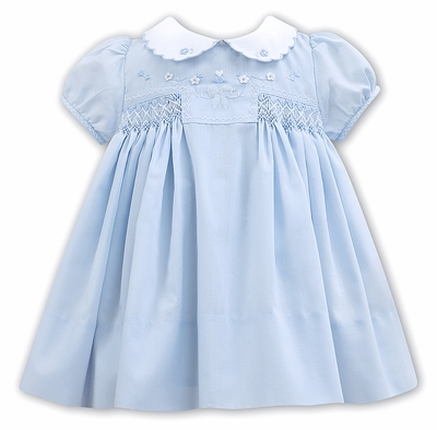 Sarah Louise Baby / Toddler Girls Blue Smocked Dress - Embroidery Heart & Rosettes