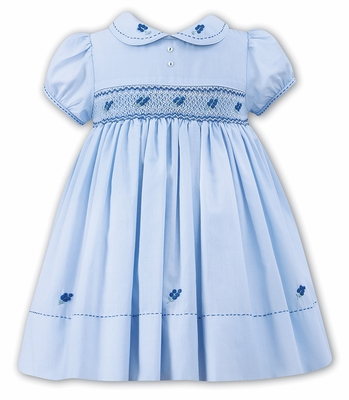 Sarah Louise Baby Toddler Girls Blue Smocked Dress With