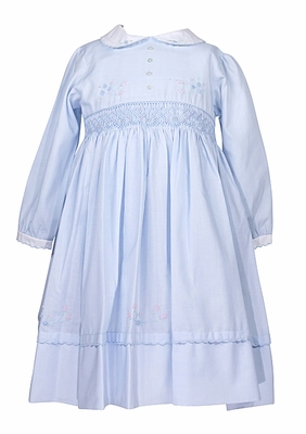 Sarah Louise Baby / Toddler Girls Blue Smocked Dress with Embroidery and Scallop Hem