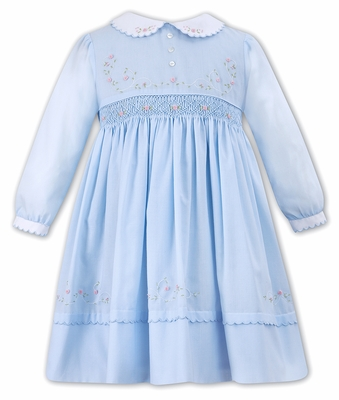 64c4e18463fc5 Sarah Louise Baby   Toddler GIrls Blue Smocked Dress - Scallop Collar -  Beautiful Embroidery