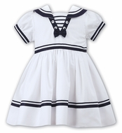 Sarah Louise Baby / Toddler Girls Classic Sailor Suit Dress - White with Navy Blue Trim