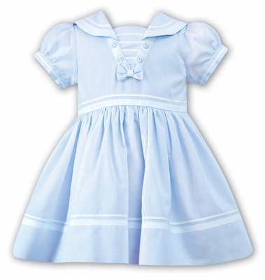 Sarah Louise Baby / Toddler Girls Classic Sailor Suit Dress - Light Blue