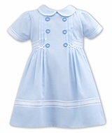 Sarah Louise Baby / Toddler Girls Double Breasted Dress - Blue
