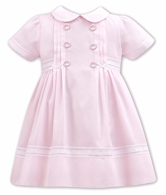 Sarah Louise Baby / Toddler Girls Double Breasted Dress - Pink