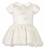 Sarah Louise Baby / Toddler Girls Ivory Special Occasion Dress with Lace
