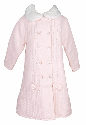 6fb7bf5696a0 Sarah Louise Baby   Toddler Girls Pink Cable Sweater Knit Dress Coat ...