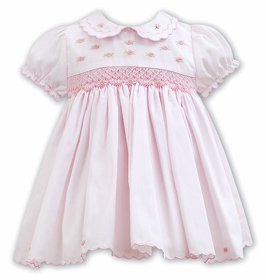 d1da029e8 Sarah Louise Baby / Toddler Girls Pink Smocked Dress - Scallop and Rosette  Details