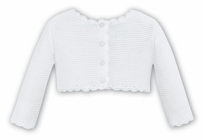 Sarah Louise Baby / Toddler Girls Scallop Cardigan Sweater - Winter White