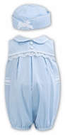 Sarah Louise Baby / Toddler Girls Sleeveless Bubble with Hat - Blue