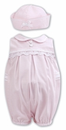 Sarah Louise Baby / Toddler Girls Sleeveless Bubble with Hat - Pink