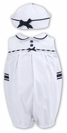 Sarah Louise Baby / Toddler Girls Sleeveless Bubble with Hat - White
