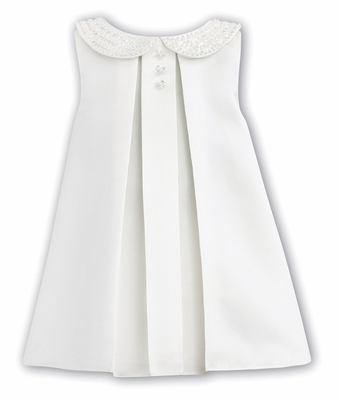 Sarah Louise Baby / Toddler Girls Sleeveless Ivory Dress - Jewel Embellished Collar