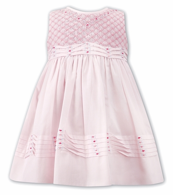 Sarah Louise Baby / Toddler Girls Sleeveless Pink Smocked Bodice Dress with Tucks