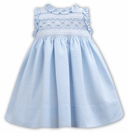 Sarah Louise Baby / Toddler Girls Sleeveless Smocked Bodice Dress with Ruffles - Blue Stripes