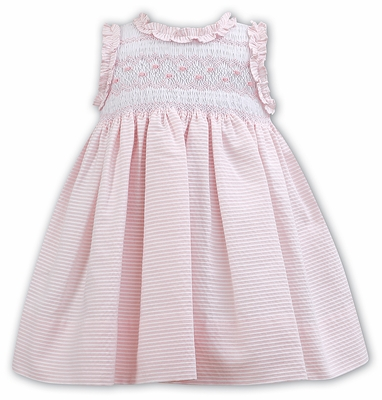 Sarah Louise Baby / Toddler Girls Sleeveless Smocked Bodice Dress with Ruffles - Pink Stripes
