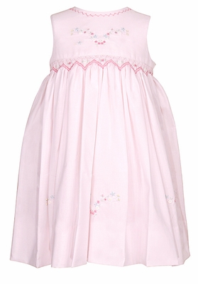 Sarah Louise Baby / Toddler Girls Sleeveless Smocked Pink Dress with Flower Embroidery