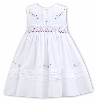 Sarah Louise Baby / Toddler Girls Sleeveless Smocked White Dress - Lavender Embroidery Flowers