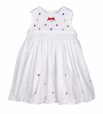 Sarah Louise Baby / Toddler Girls Sleeveless Smocked White Dress - Embroidered Butterflies - Red Bow