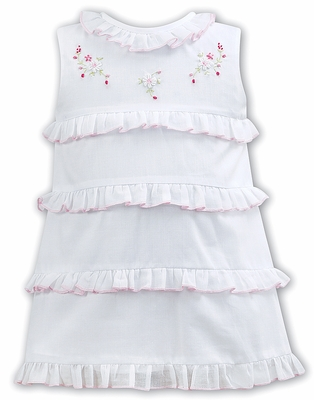 b9db024e14ae Sarah Louise Baby   Toddler Girls Sleeveless White Dress - Pink Embroidery    Ruffle Trim