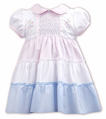 Sarah Louise Baby / Toddler Girls Smocked Tiered Dress - Pink / White / Blue