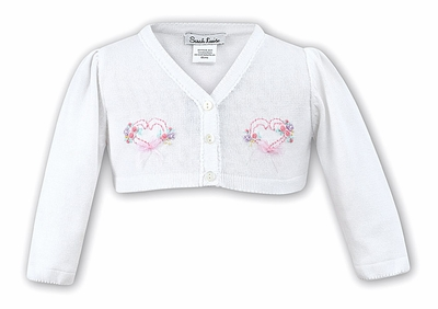 Sarah Louise Baby / Toddler Girls White Cardigan Sweater with Pink Heart Embroidery