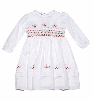 Sarah Louise White Smocked Dress With Lace Trim Red Detail