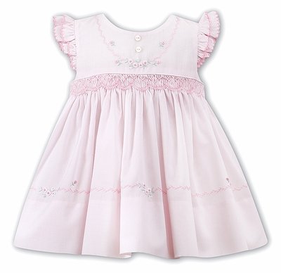 Sarah Louise Baby / Toddler Girls Pink Smocked Dress with Angel Sleeves