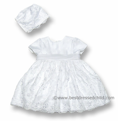 Sarah Louise Baby / Toddler Girls White Lace Christening Dress with Bonnet