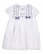 Sarah Louise Baby / Toddler Girls White Smocked Dress - Navy Blue Check Bows - Smocked Collar and Sash in Back Too!