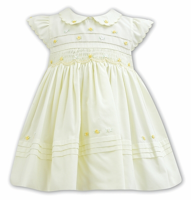 Sarah Louise Baby / Toddler Girls Yellow Smocked Dress - Scallop Sleeves