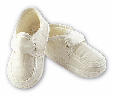 Sarah Louise Christening Shoes Booties for Baby Boys - White Satin or Ivory Silk