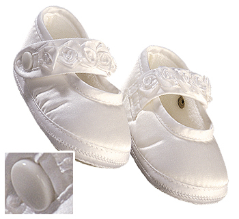 Sarah Louise Christening Shoes Booties for Baby Girls - White Satin or Ivory Silk