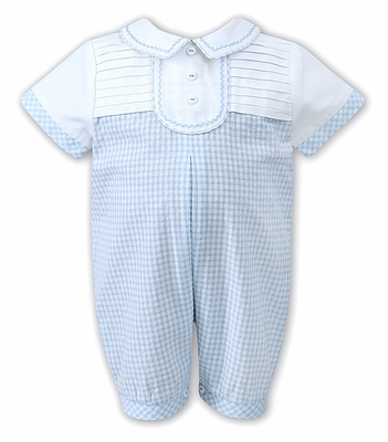 Sarah Louise / Dani Baby Boys Blue Check Seersucker Pleated Romper with Embroidery