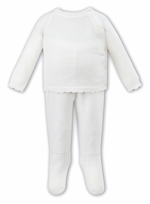 Sarah Louise Dani Baby Boys or Girls Two Piece Sweater Knit Set - Ivory