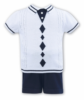 Sarah Louise Dani Baby / Toddler Boys White / Navy Blue Argyle Sweater Knit Shorts Set