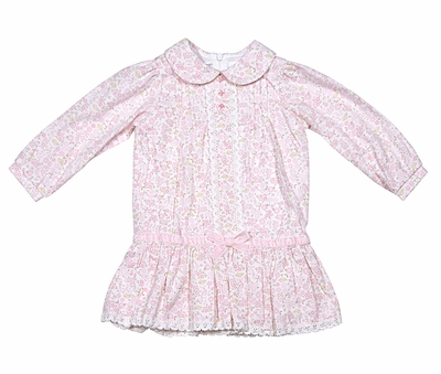 Sarah Louise / Dani Baby / Toddler Girls Pink Floral Dress with Velvet Bow Trim