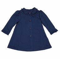 Sarah Louise Dani Girls 3/4 Length Dress Coat with Scallop Collar - Navy Blue