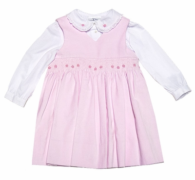0202b95df7a48 Sarah Louise   Dani Girls Pink Smocked Pinafore Jumper Dress with Lace Trim  Blouse