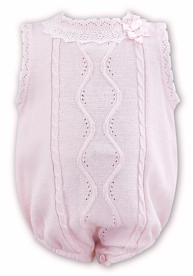 Sarah Louise / Dani Infant Girls Pink Sweater Knit Bubble with Bows