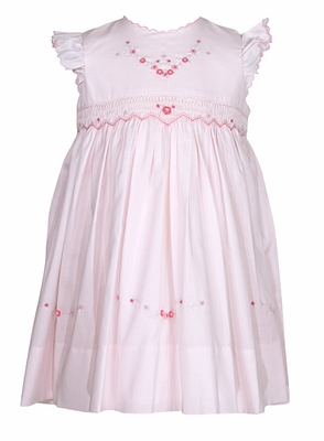 Sarah Louise / Dani Infant / Toddler Girls Pink Smocked Dress with Embroidery and Flutter Sleeves