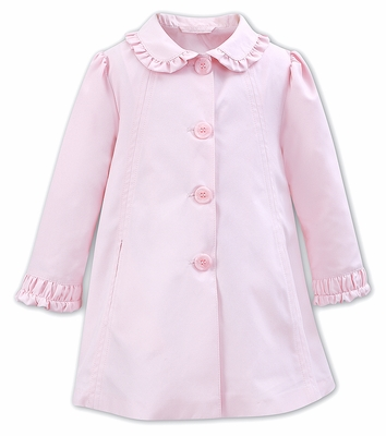 Sarah Louise Dani Girls 3/4 Length Dress Coat with Scallop Collar - Pink