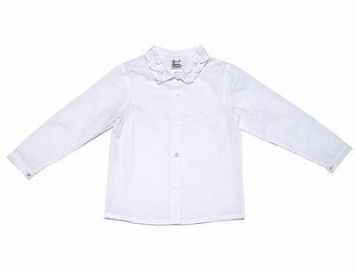 Sarah Louise Girls Blouse with Long Sleeves & Bows on Collar - White