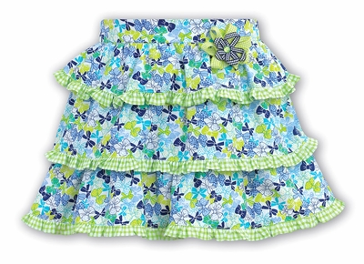 Sarah Louise Girls Blue / Green Bows Print Tiered Skirt with Flower