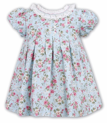 a5567f297 Sarah Louise Girls Blue / Pink Rose Floral Dress with Ruffle Collar