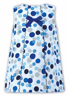 Sarah Louise Girls Blue Polka Dots A-Line Dress with Scallop and Bow