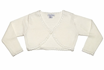 Sarah Louise Girls Bolero Sweater with Ribbon Trim - Ivory