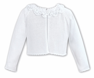 Sarah Louise Girls Bolero Sweater with Ruched Flowers Neckline - White