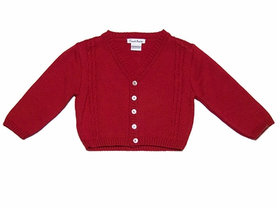 Sarah Louise Boys / Girls V-Neck Cable Knit Cardigan Sweater - Red